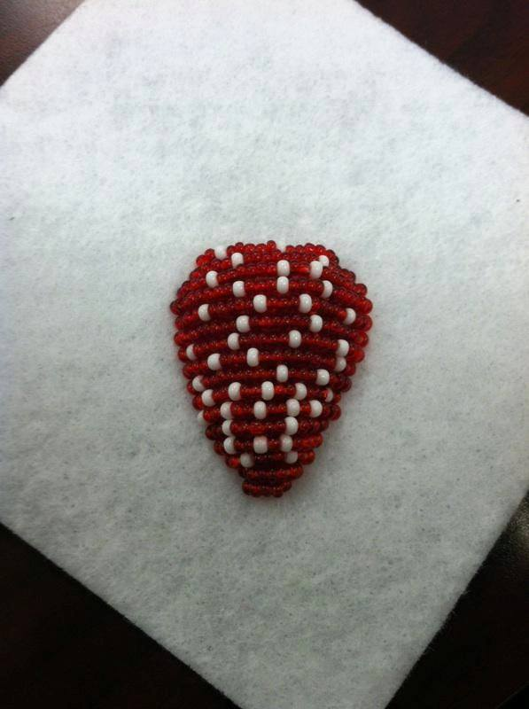 Beaded strawberry almost done, only leaves need to be added