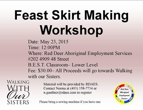 WWOS Red Deer poster for Feast Skirt Making Workshop
